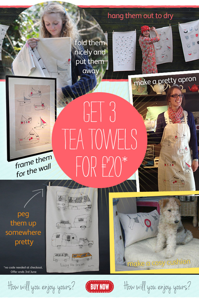 3 tea towels for £20